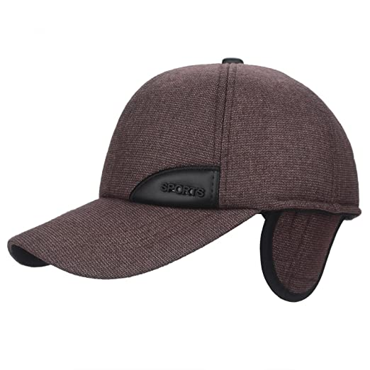 89af4bd7fb30d F Flammi Men s Winter Fleece-Lined Earflap Visor Hat Adjustable Baseball Cap  (97 Coffee