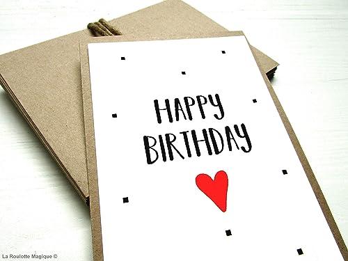 Carte Anniversaire Happy Birthday Carte Cadeau Faire Part Anniversaire Amazon Fr Handmade