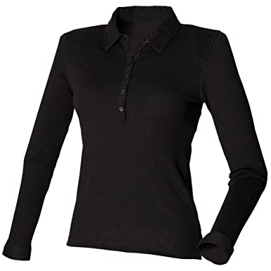 d0524b337 Skinni Fit Ladies Womens Long Sleeve Stretch Polo Shirt at Amazon Women s  Clothing store