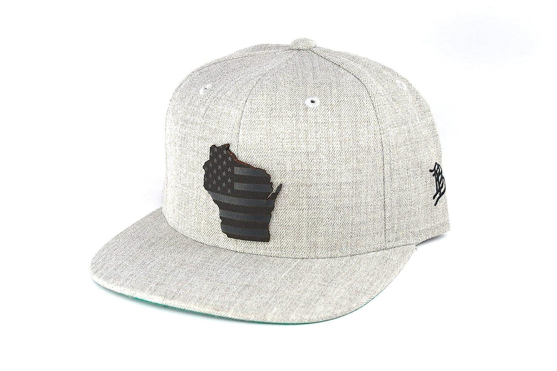 cd808b848e900 Branded Bills  Midnight Wisconsin Patriot  Black Leather Patch Snapback Hat  - OSFA Black at Amazon Men s Clothing store