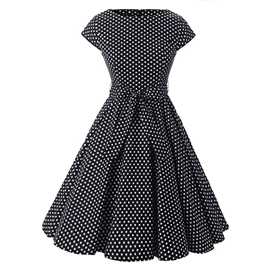 Cutecatcos Womens Cap Sleeves 50s Inspired Vintage Polka Dot