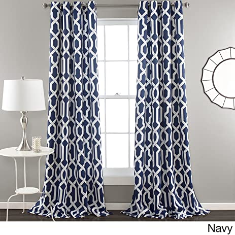 navy and white drapes grey 2pc 84 navy blue white moroccan curtains panel pair set polyester color drapes amazoncom set