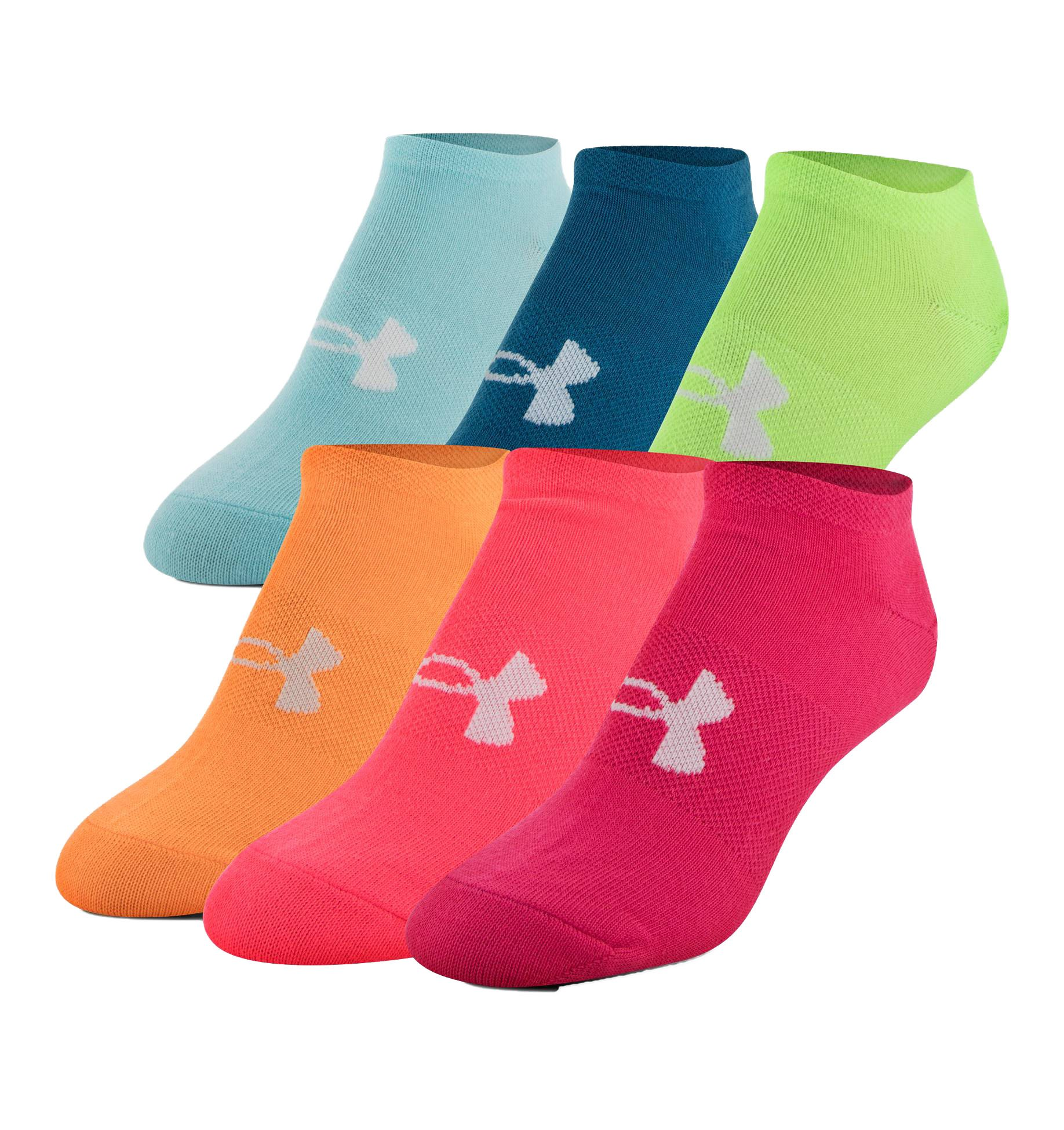 Under Armour Girls Essential No Show Socks (6 Pack) (Youth Small (Youth Shoe Size 13.5K-4Y), Assorted (1264054-975) / Pink/Orange) by Under Armour
