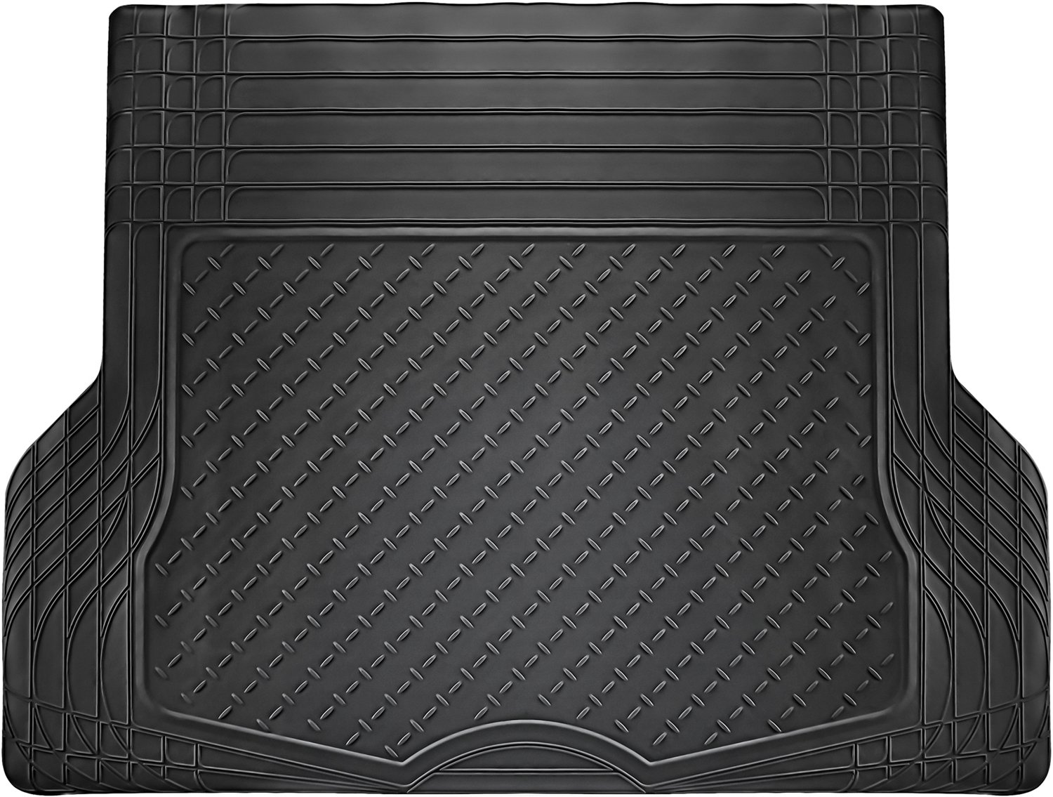OxGord WeatherShield HD Rubber Trunk Cargo Liner Floor Mat Van Trim-to-Fit for Car SUV Trucks Black