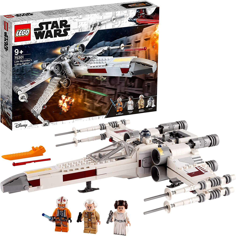 LEGO75301StarWarsCazaAla-XdeLukeSkywalker Juguete de Construcción conMini FigurasdePrincesaLeiayR2-D2Droide