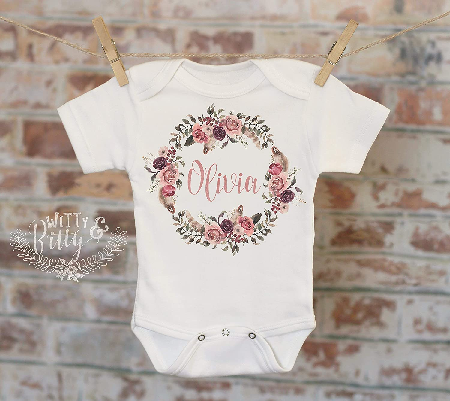 Flower Wreath Baby Name Personalized Onesie, Customized Onesie, Custom Baby Onesie, Woodland Style Onesie, Boho Baby Onesie, Girl Name Onesie