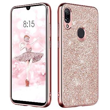 BENTOBEN Funda Xiaomi Redmi Note 7/Redmi Note 7 Pro/Note 7s Carcasa Cover Ultra Delgada Brillante Purpurina Resistente Silicona PC Protectora para ...