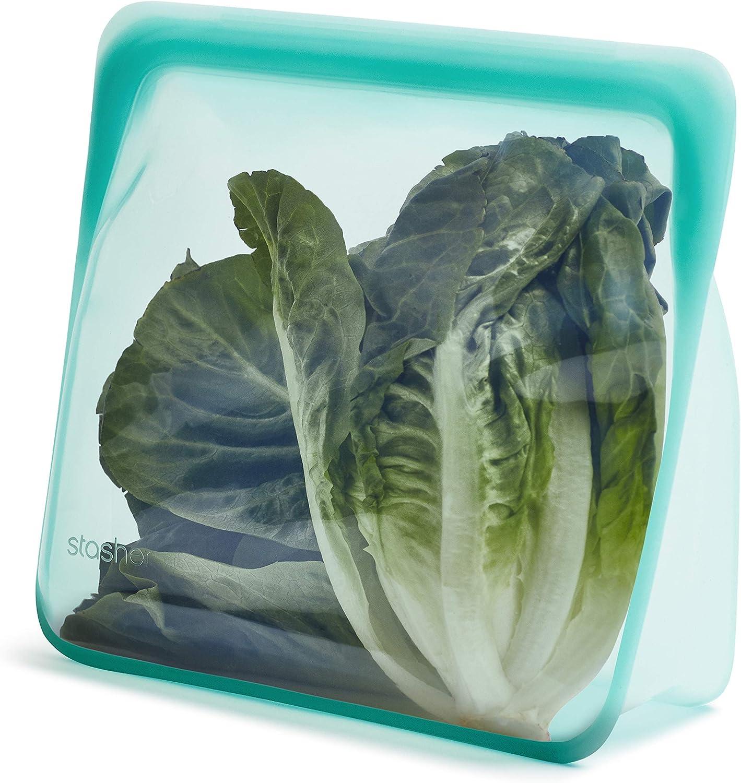 Stasher Platinum Silicone Food Grade Reusable Storage Bag, Aqua (Stand-Up Mega) | Reduce Single-Use Plastic | Cook, Store, Sous Vide, or Freeze | Leakproof, Dishwasher-Safe, Eco-friendly, Non-Toxic | 104 Oz