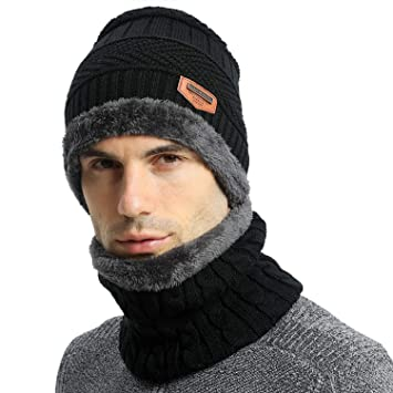 339a845f592 Habikox Unisex Winter Beanie Hat Scarf Set Warm Knitted Hat and Circle  Scarf Set Outdoors Scarf