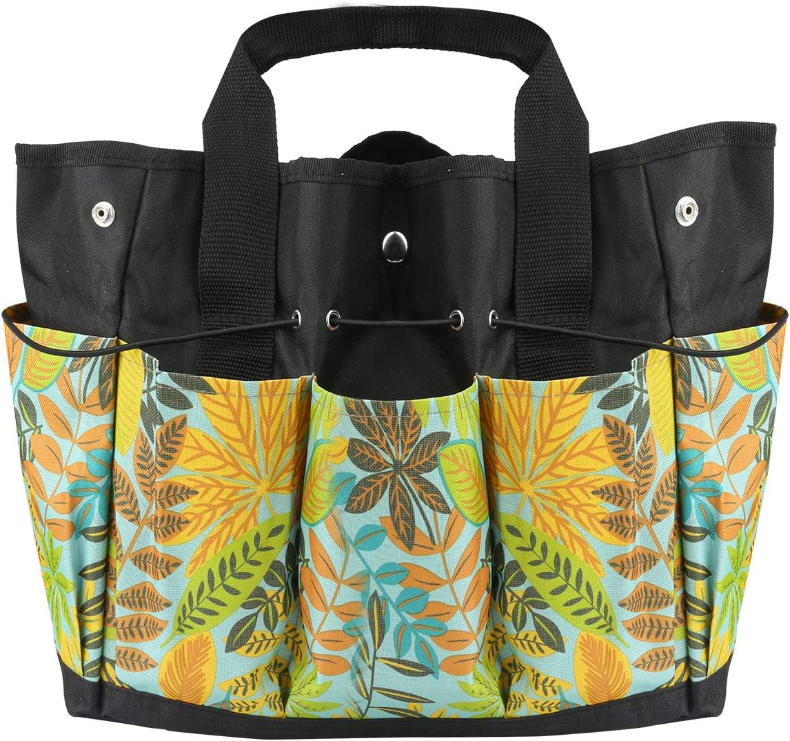 Mystery Garden Tool Tote Bag, Leaf Print Gardening Tool Tote Storage Bag with 8 Pockets, Heavy Duty Garden Tool Organizer Pouch Bag, Oxford Cloth Garden Bag for Women Men, Green (Tools Not Included)