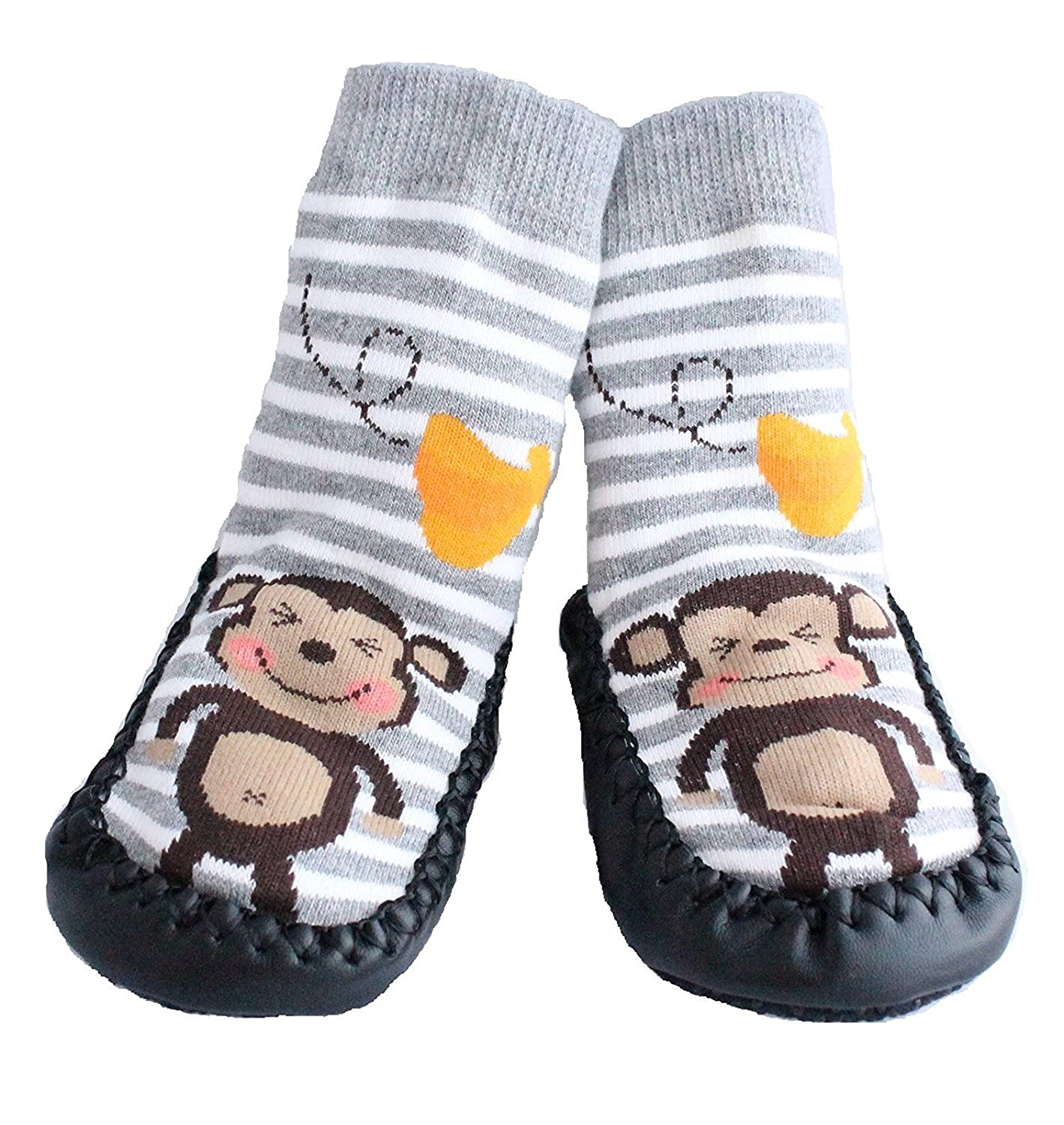 Baby Boys Girls Moccasins NON-SKID Indoor Shoes Socks STRIPED GREY MONKEY