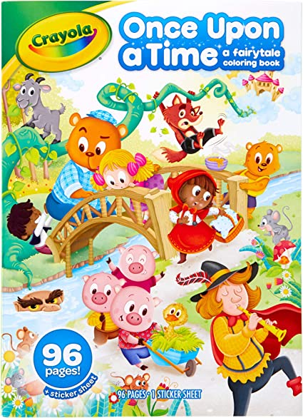 Amazon.com: Crayola Fairy Tale Coloring Book With Stickers, 96 Coloring  Pages, Gift For Kids, Ages 3, 4, 5, 6: Toys & Games