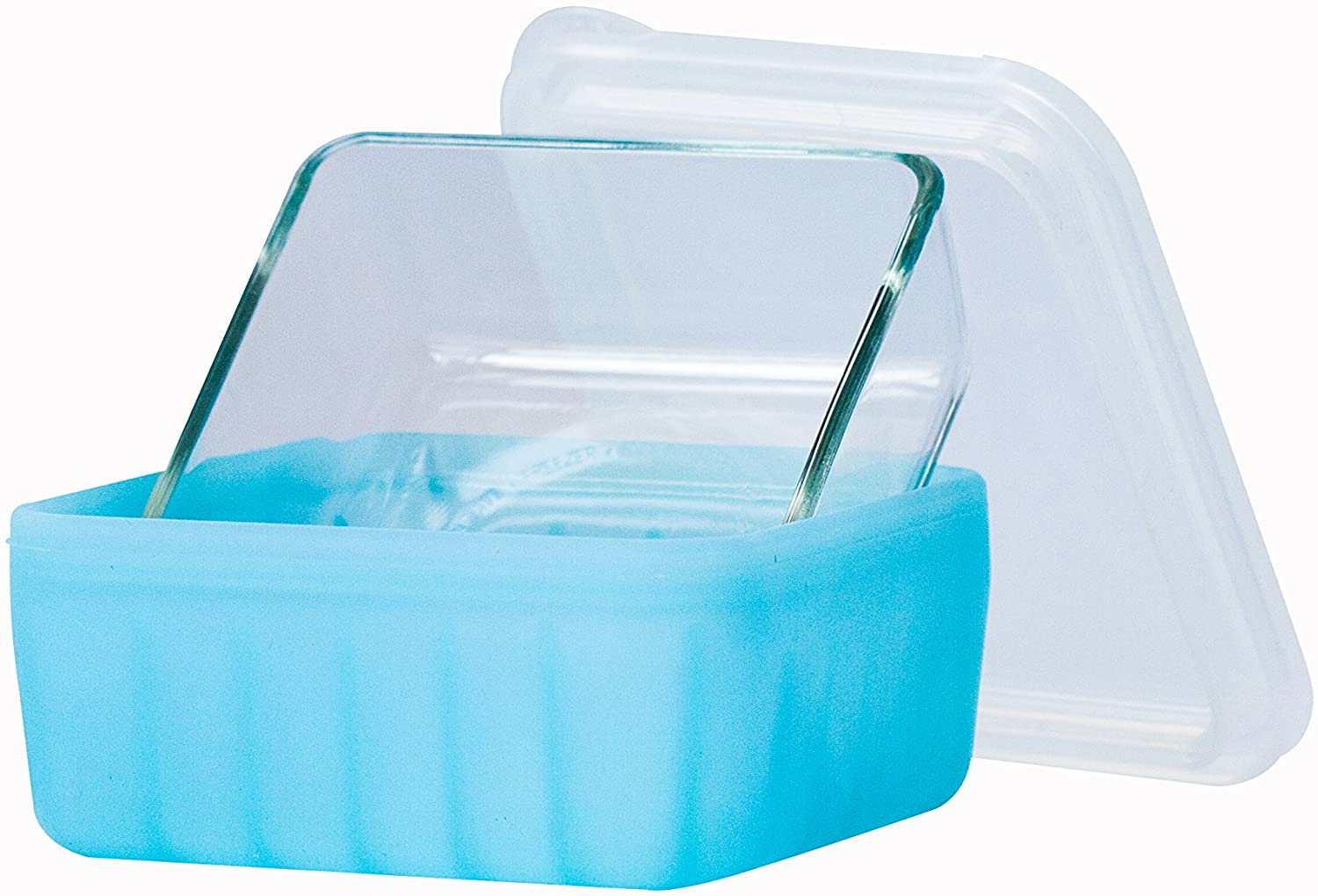 Frego Award-Winning Plastic-Free Glass and Silicone Food Container | 4 Cups | Blue