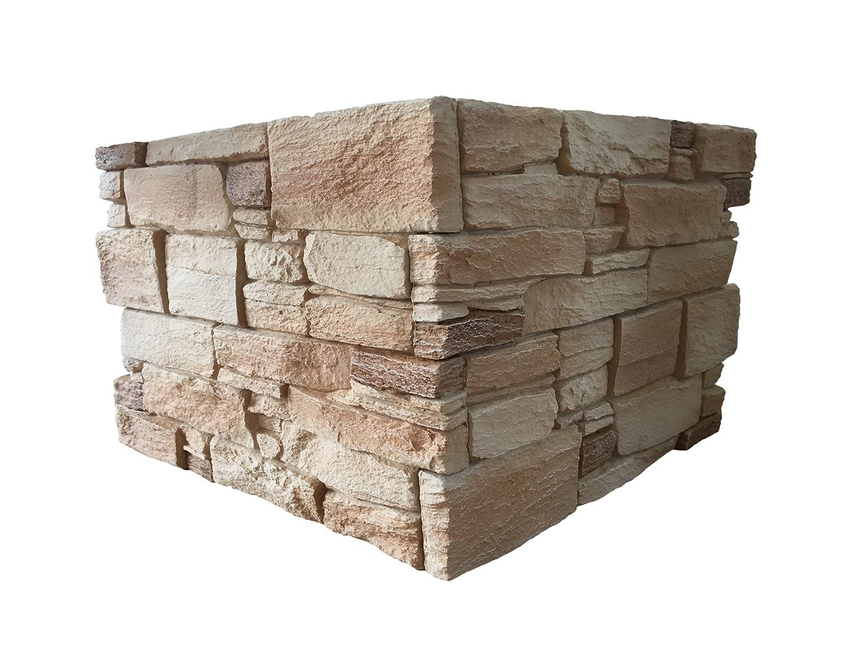 Revestimiento mural en piedra óptica para cocina - terraza - dormitorio - salón | Paneles para paredes mediterráneas de espuma dura | 53cm x 40cm (Granito ...