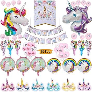 Amazon.com: Unicornio decoración de fiestas, 1 pancarta de ...