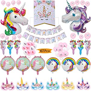 Amazon.com: Unicornio decoración de fiestas, 1 pancarta de ...