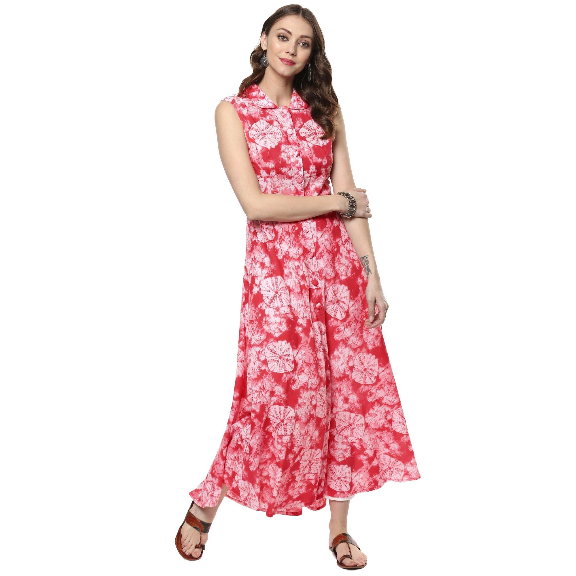 Indian Virasat Women's Printed Cotton Front Slit A-Line Kurta Large Red Tunic Kurti