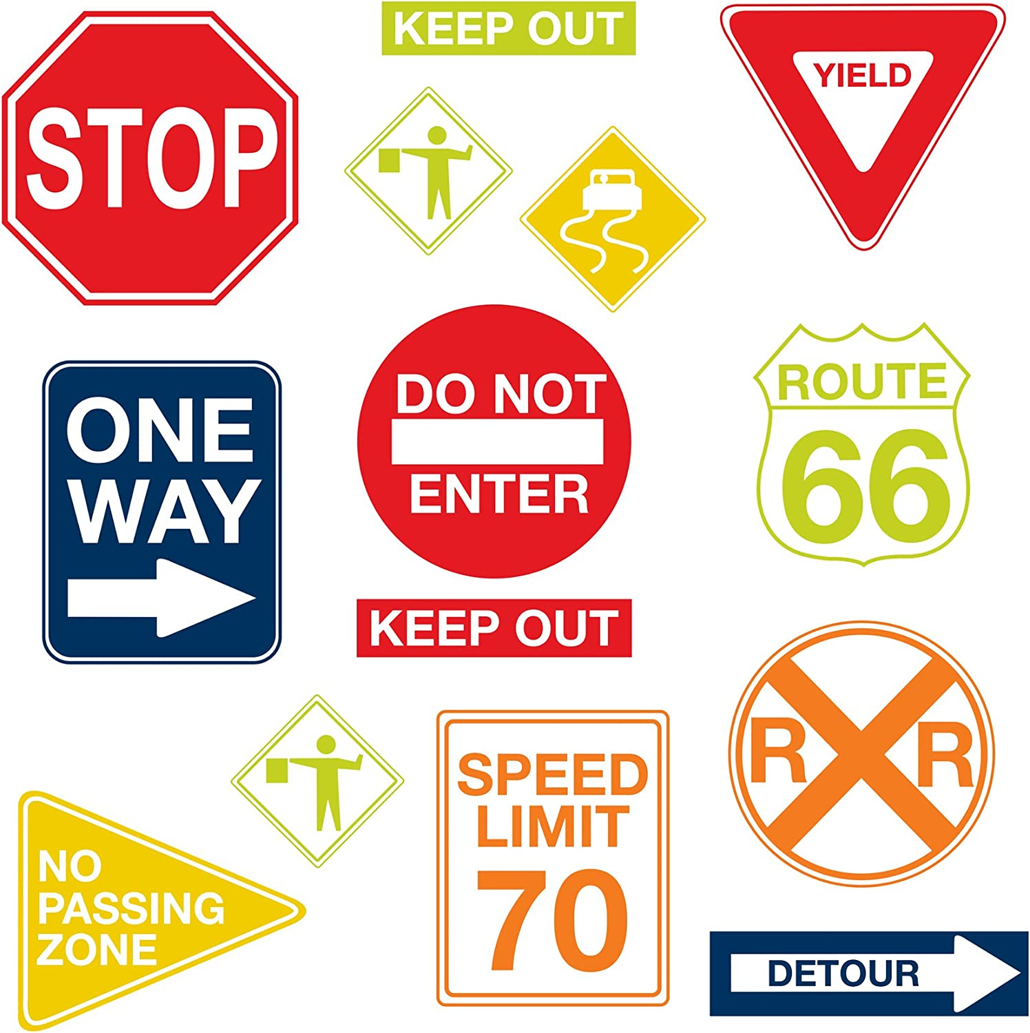 Wall Pops Wpk0617 Road Signs Wall Decals 17 25 Inch By 39 Inch Two Sheets Decorative Wall Appliques Amazon Com