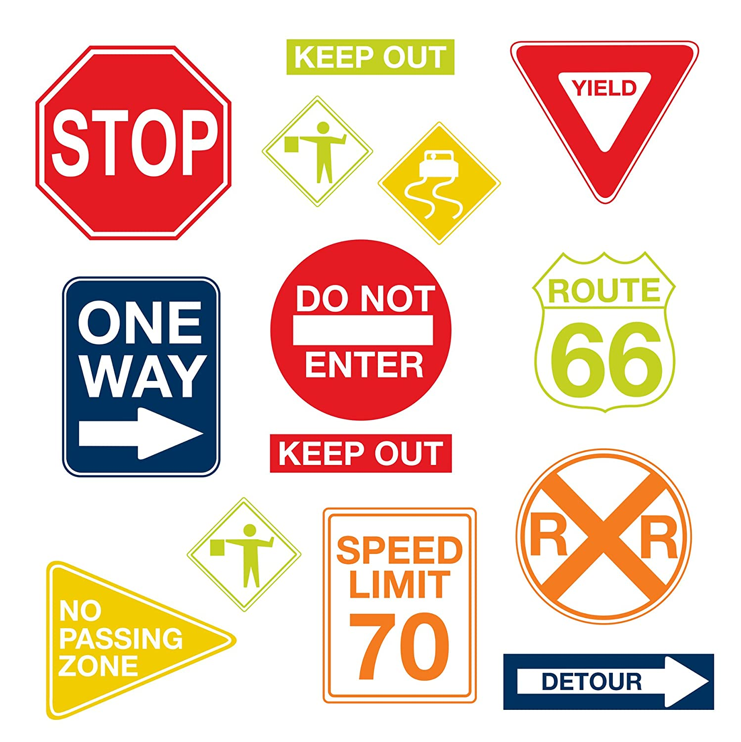Wall PopsWPK0617 Road Signs Wall Decals,17. 25-inch by 39-inch, Two sheets