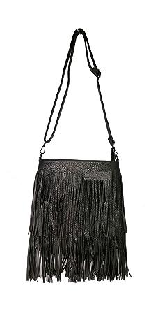 47d7e859d GFM SMALL Faux Leather Tassel Bag With Soft Fringes Tassels on Both Sides  Shoulder bag (