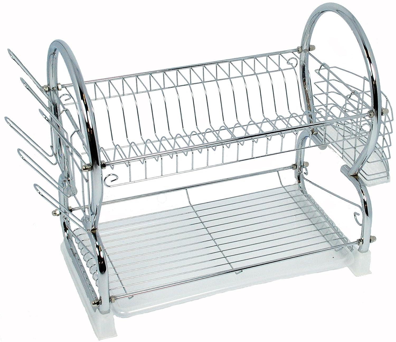 2//3 Tier Steel Dish Drainer Crockery Cutlery Rack Organiser Drip Tray UK Shop