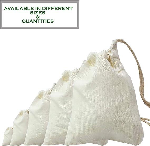 100 bolsas de muselina de algodón con cordón, para boda, de ...
