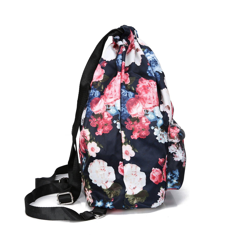 MORHUA Backpack Drawstring Bag Gymbag Drawstring Backpack Sports Travel Yoga Gymsack (Dark Orchid Pocket) by MORHUA (Image #2)