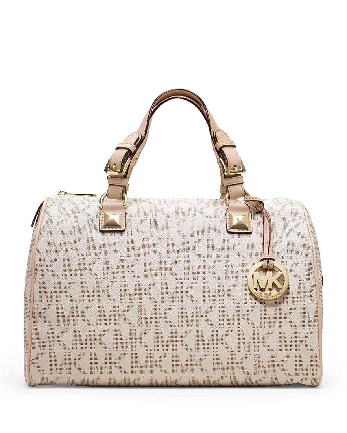 783071b67b70 Amazon.com  Michael Kors Womens Grayson Large Logo Satchel Vanilla Handbag   Shoes