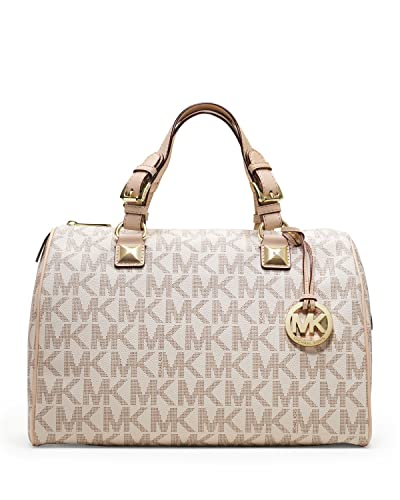 amazon com michael kors womens grayson large logo satchel vanilla rh amazon com