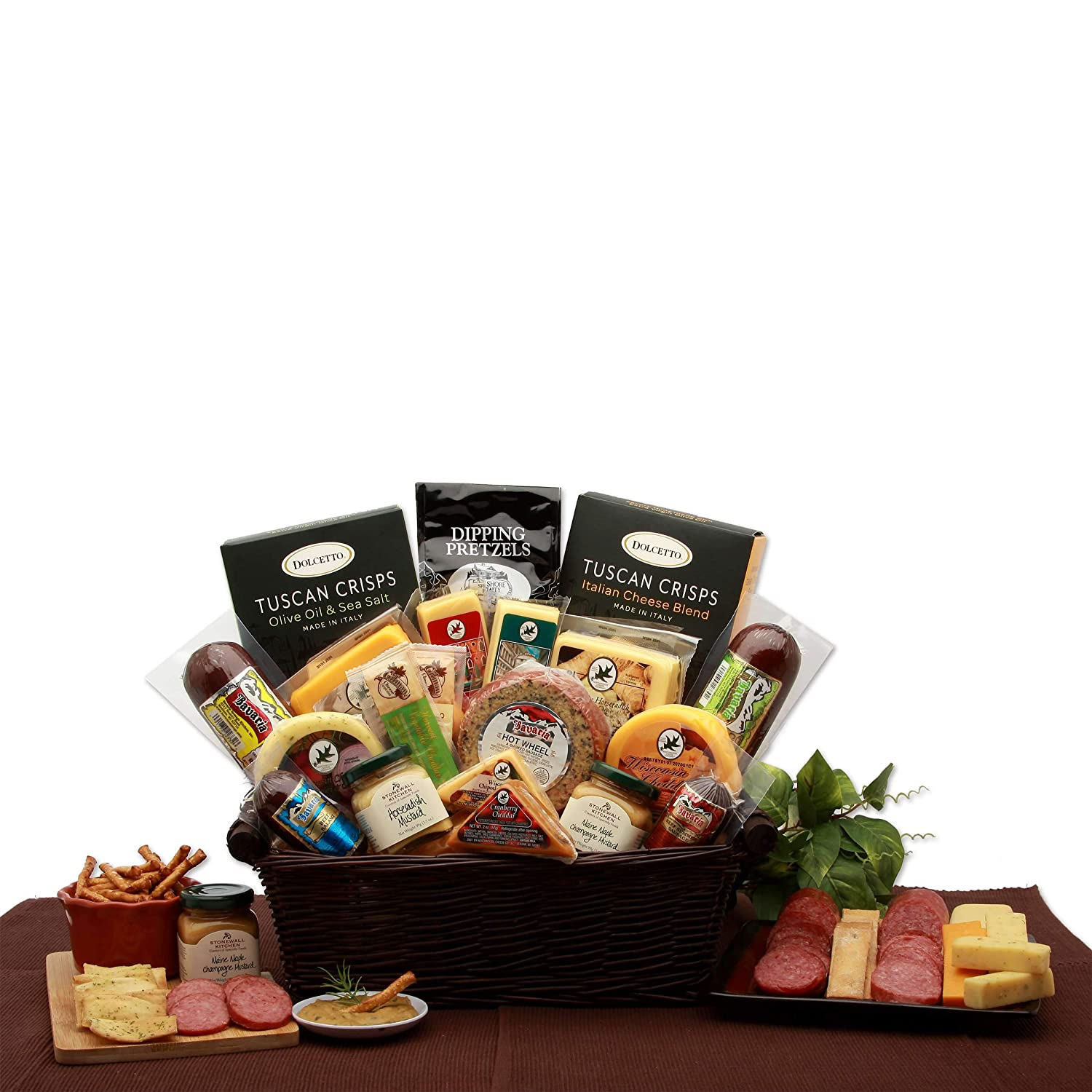 Italian Snacker Gourmet Meat and Cheese Gift Basket -Sausage and Cheese Holiday, Christmas, All Occasion Gift Basket