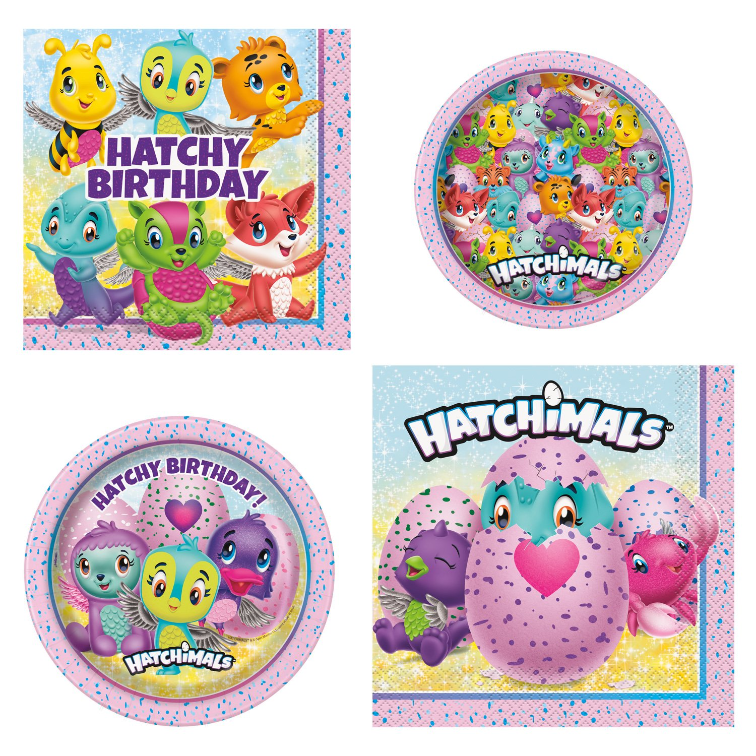 Unique Hatchimals Party Bundle | Luncheon & Beverage Napkins, Dinner & Dessert Plates | Great for Toy/Animals/Cute Birthday Themed Parties