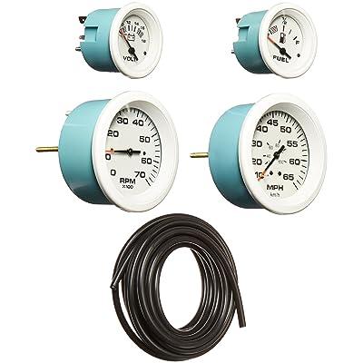 Sierra International Arctic 4 Gauge Outboard Set Includes Speedometer, Tachometer, Voltmeter & Fuel Gauges: Automotive