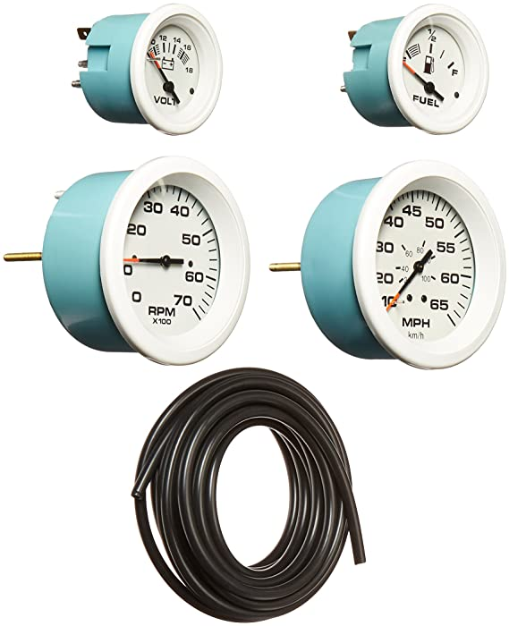 Sierra International Arctic 4 Gauge Outboard Set Includes Speedometer, Tachometer, Voltmeter & Fuel Gauges