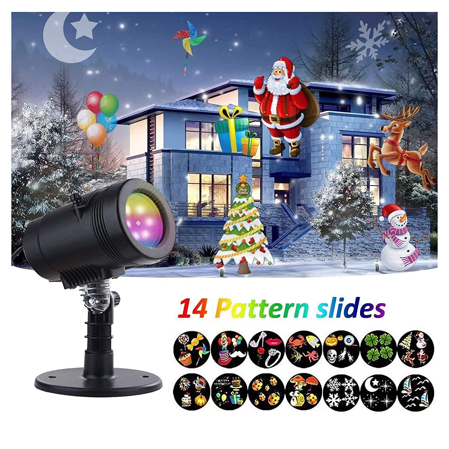 Rotating Projector Spotlight, YMing Garden Projector with 14 Patterns Waterproof Outdoor Rotating Light Projection Spotlight for Christmas Halloween Party Garden Outdoor and Indoor Decorate [Energy Class A++]