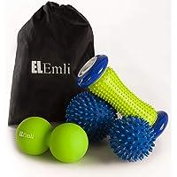 Professionelles Massage Set | 4-teilig | Fußmassage für Plantar Fasciitis | 2x Igelball | Fussroller mit Noppen | Duoball - Twinball mit Tasche