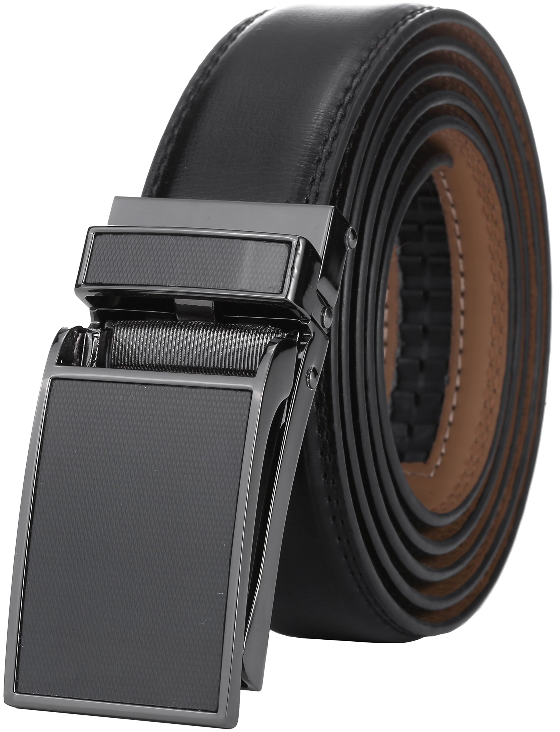 Marino Avenue Men's Genuine Leather Ratchet Dress Belt with Linxx Buckle, Enclosed in an Elegant Gift Box - Black Lattice Design Buckle W/Black Leather - Adjustable from 38'' to 54'' Waist