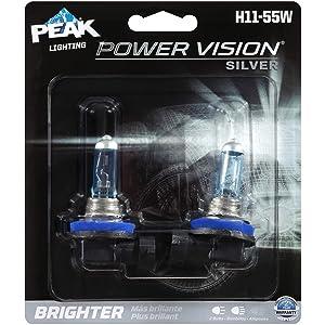 Peak Power Vision Silver Automotive Performance Headlamp, H11 55W, 2 Pack