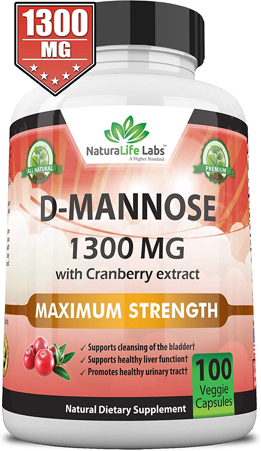 D-Mannose 1,300 mg with Cranberry Extract Fast-Acting, Flush Impurities, Natural Urinary Tract Health- 100 Veggie Capsules: Health & Personal Care