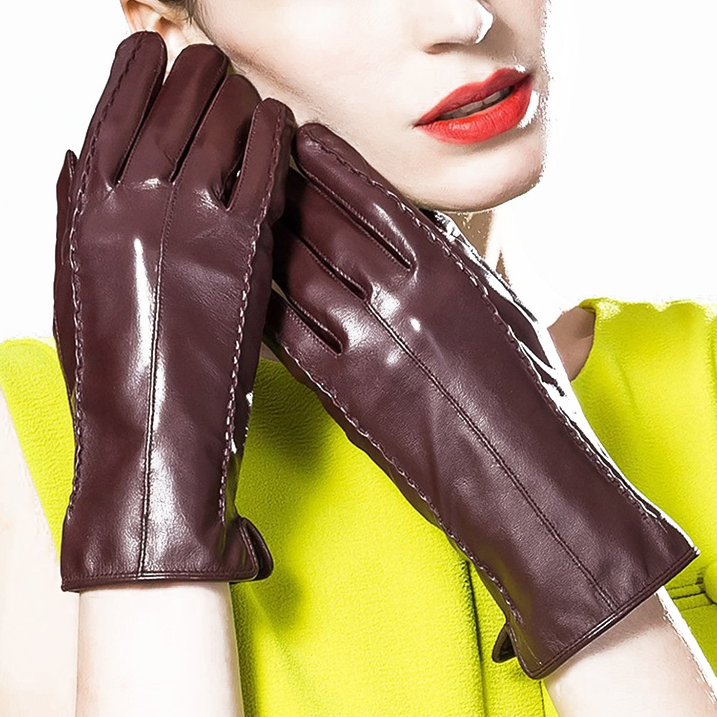 KelaSip Sheepskin Leather Gloves Touchscreen Winter Warm Business Fashion for Women's Texting Driving