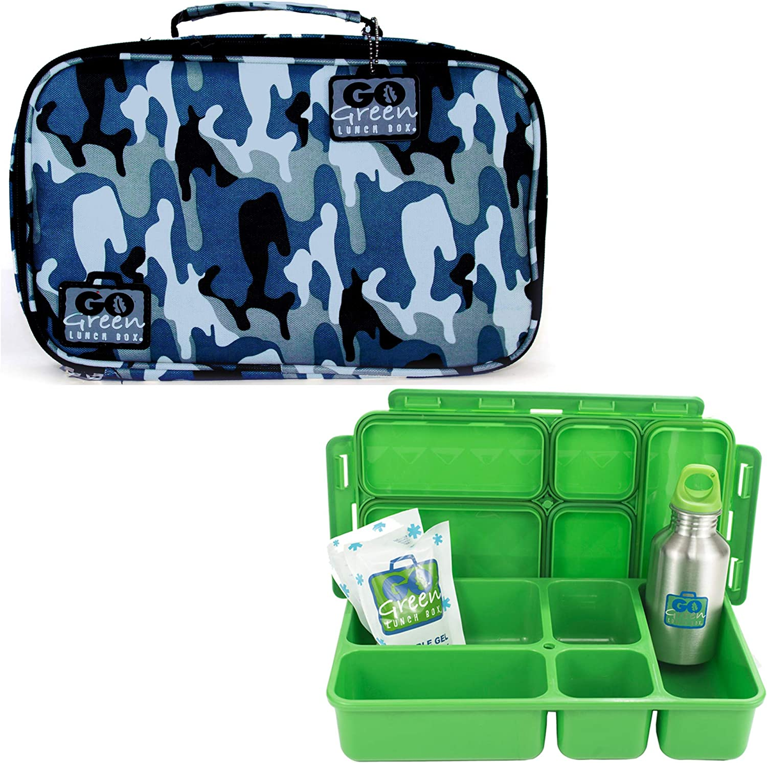 Go Green Lunch Box Set • 5 Bento Compartment Leak-Proof Lunch Box • Insulated Carrying Bag • Beverage Bottle • Gel Freezer Pack   Adults and Kids (Blue Camo)