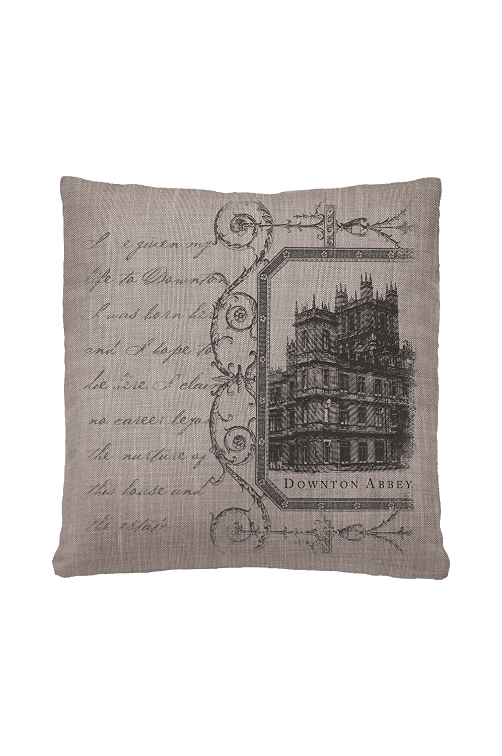 Heritage Lace Downton Abbey Castle Script 18-Inch by 18-Inch Gray Pillow Cover