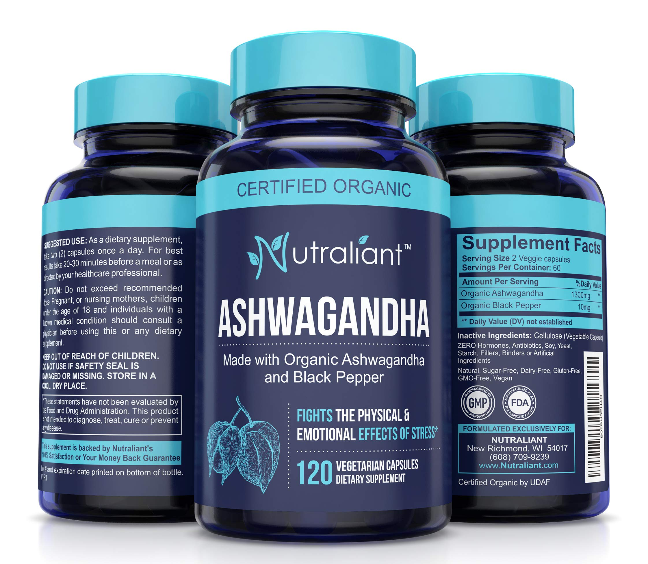 Ashwagandha Capsules for Anxiety Relief - 1300mg Pure Organic Ashwaganda Root Powder + Black Pepper Extract for Best Absorption. Stress, Adrenal, Thyroid, Mood & Sleep Supplement - 120 Veggie Caps by Nutraliant