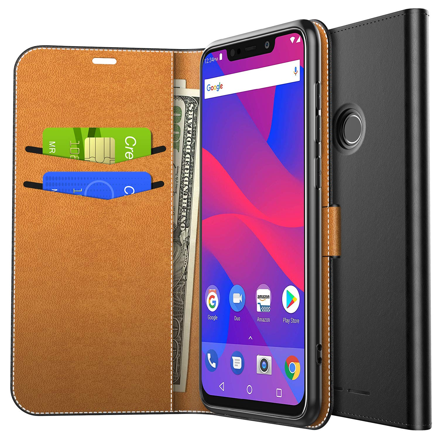 best loved 902a7 1efa4 Yocktec Case for BLU VIVO XL4, Ultra Slim Premium PU Leather Flip Wallet  Case with Card Pockets and Kickstand Feature for BLU VIVO XL4 Smartphone ...