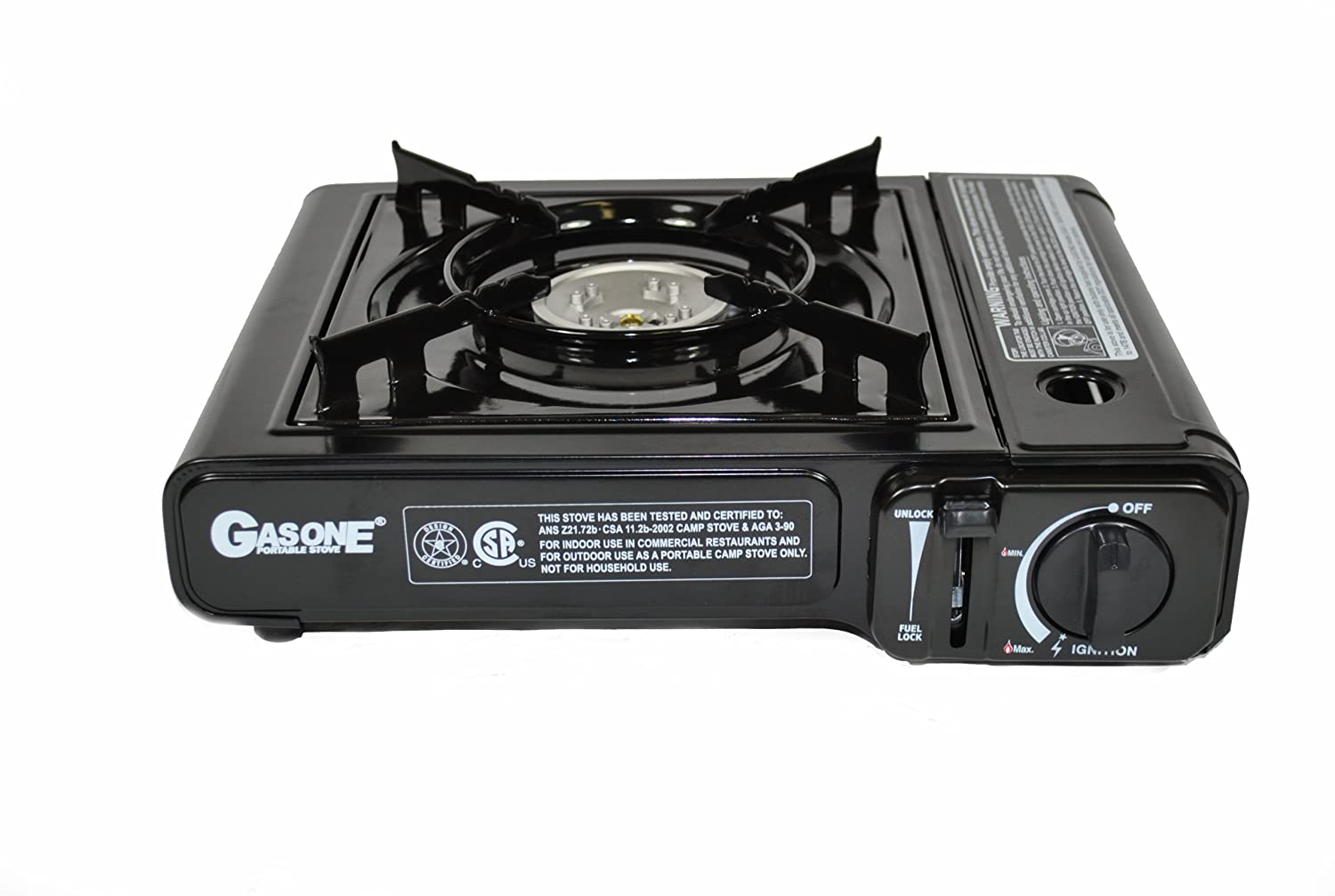 amazoncom gas one gs3000 portable gas stove with carrying case 9 000 btu csa approved black camping stoves sports u0026 outdoors