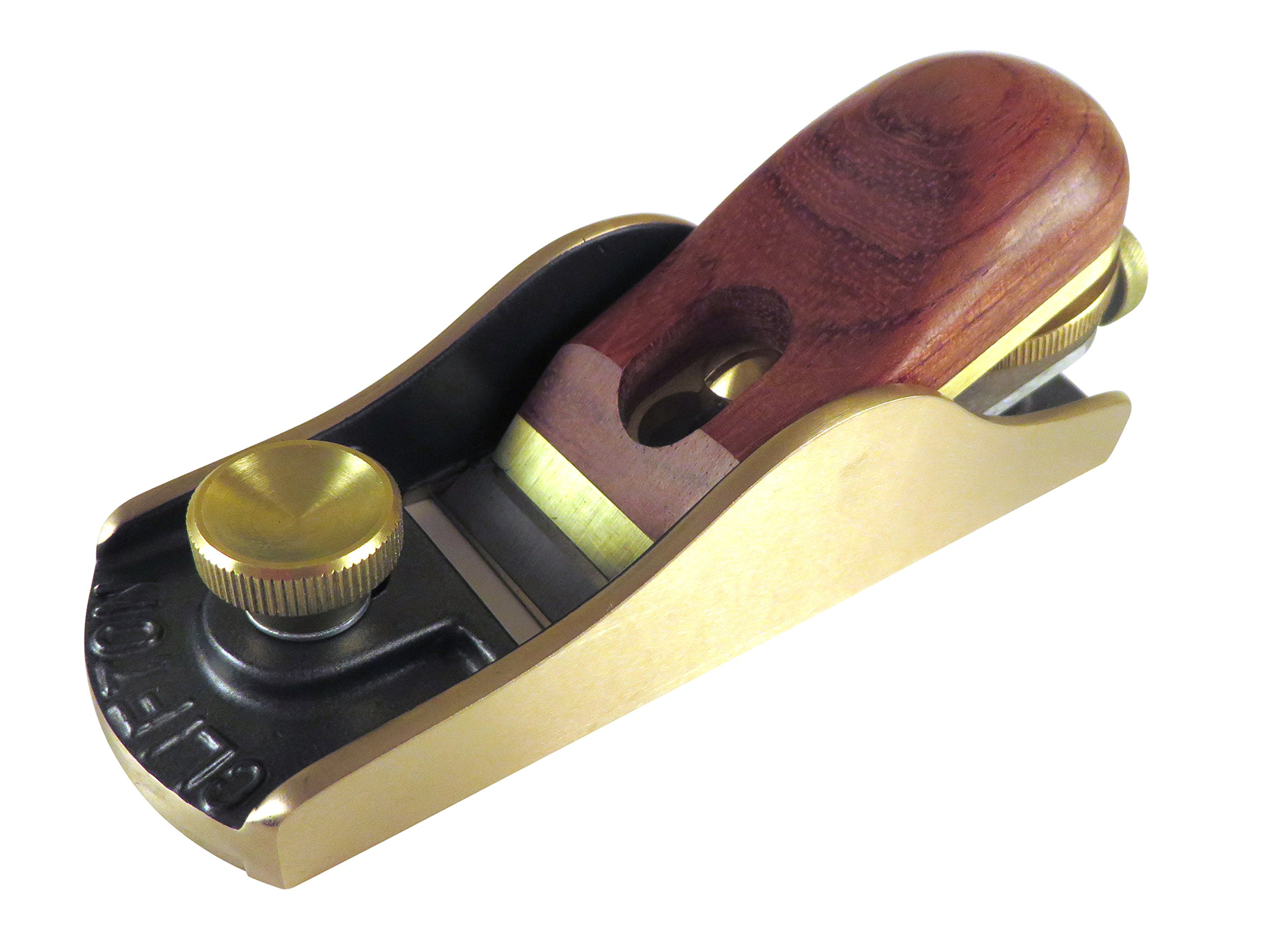 Clifton Block Plane Adjustable Mouth Bronze Body Bubinga Handle Cryogenically Treated 0.125'' (3mm) Thick 01 Steel Blade RC 60-62 by Clifton