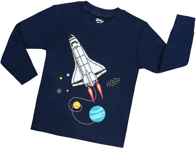 shelry Boys Rocket Pajamas Children Christmas Pants Set 100/% Cotton Size 2-7 Years