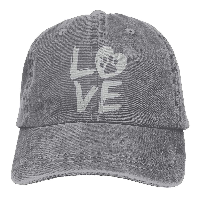 JTRVW Mens Or Womens Love Paw Print in Heart Yarn-Dyed Denim Baseball Hat Adjustable Street Rapper Hat