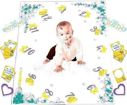 Amazon.com: Nonidoo Baby Monthly Milestone Blanket for Girls | Milestone Blanket for Baby Pictures | Super Soft, Fluffy, Fleece, Large Baby Photo Blanket ...