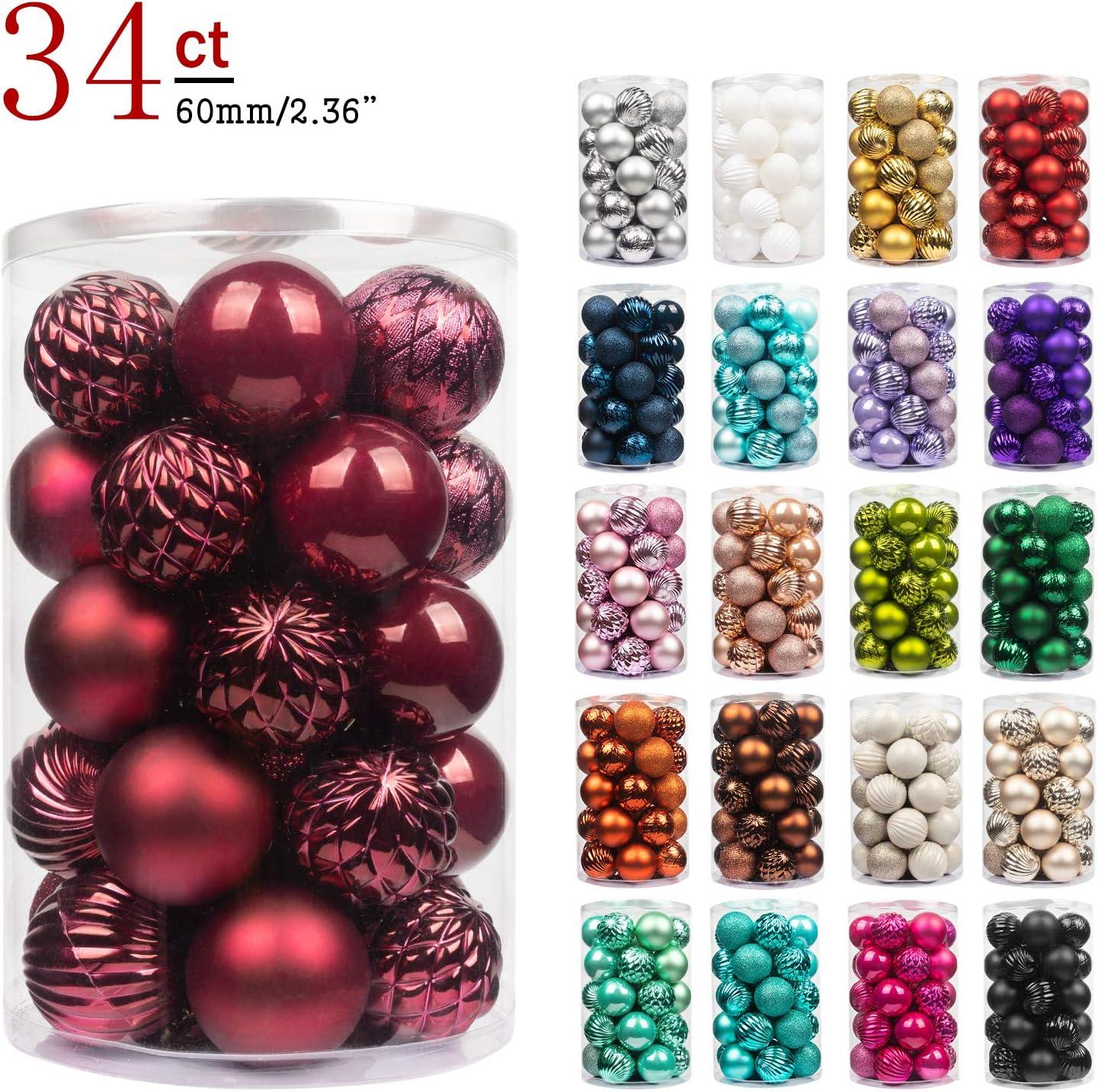 KI Store - Bolas de Navidad para decoración de árbol de Navidad, 24 unidades, bolas inastillables, para decoración de festivales y festivales, granate, 6 cm
