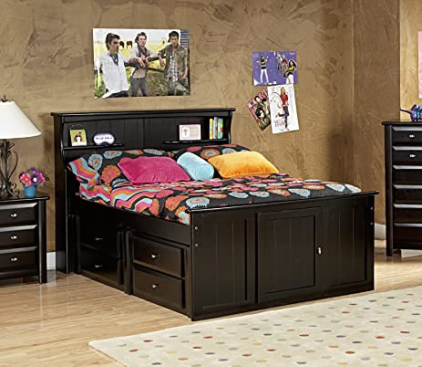 Amazon Com Full Bed With Bookcase Headboard And Storage Kitchen